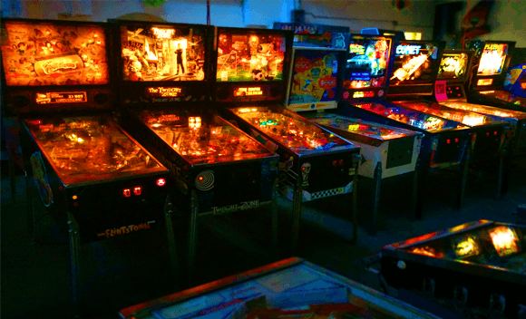 The pinball row of Vintage Arcade Superstore's showroom