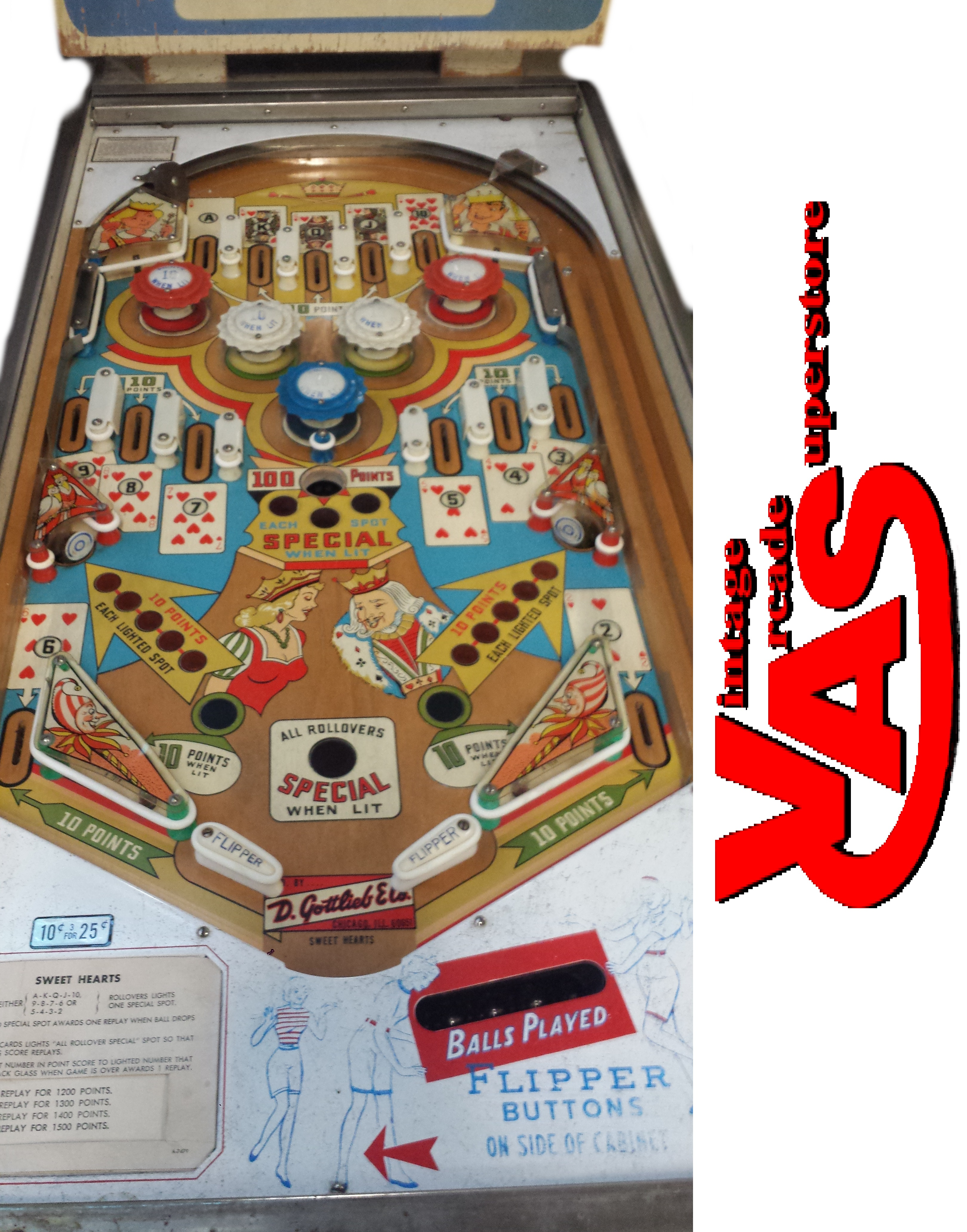 Sweethearts Pinball game for sale- Vintage Arcade