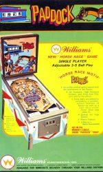 Paddock Pinball Machine Flyer